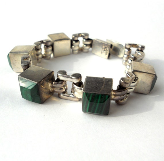 1980s Chunky Square Vintage Mexican Malachite Bracelet