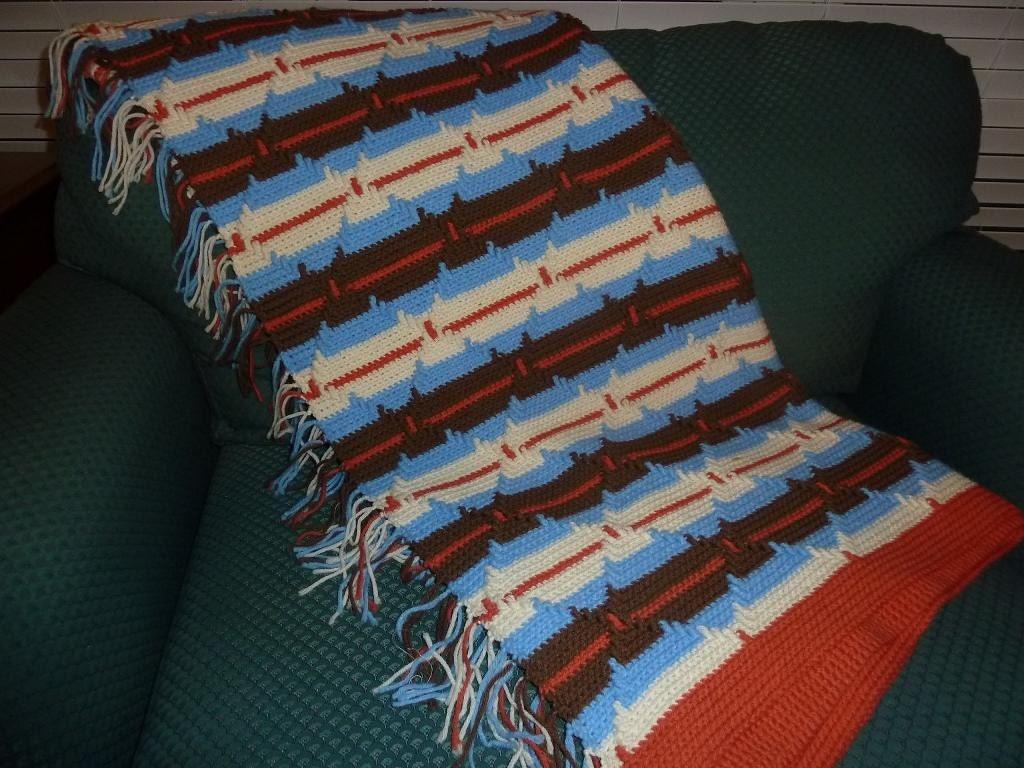 Diamond Pattern Indian Navajo Crochet Afghan