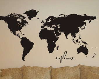 great Vinyl Wall Sticker Decal Art  explore the  World Map extra large 43 x 100""