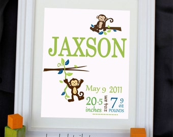 Custom Print , Personalized Monkey Print  Personalized with your baby  Name  Wall decoration for nursery or playroom