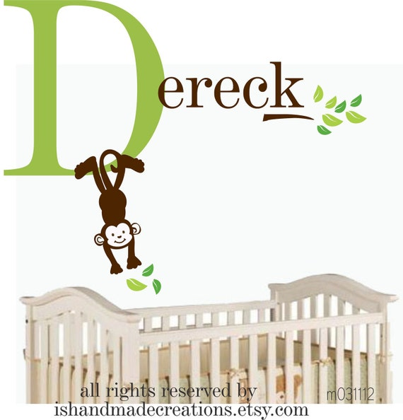 NEW Cute MONKEY Personalized Initial Name Vinyl Wall Decal perfect decoration for nursery or playroom-M012611A-1