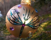 Gold Dragonfly Sparkling Christmas Glass Ball