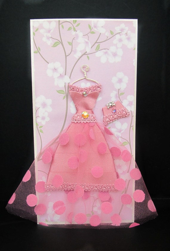 Cherry Personalized Dress Card / DL Size / Handmade Greeting