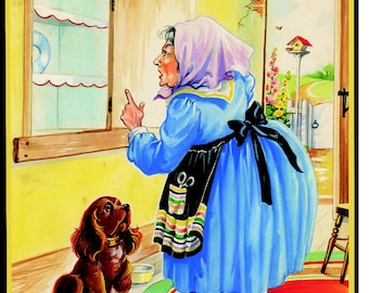 OLD MOTHER HUBBARD - Childrens Wooden Jigsaw Tray Puzzle