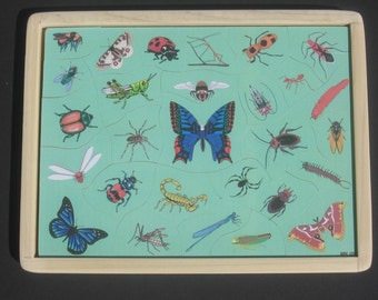 BUTTERFLIES N BUGS - Childrens Wooden Jigsaw Tray Puzzle