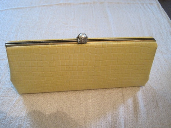 Buttercup Yellow Snakeskin Clutch Purse