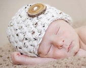 Newborn Baby Beanie Hat in Oatmeal Beige