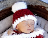 Santa Claus Pom Pom Hat Red White