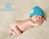 Teal Blue Newborn Big Button Beanie Hat