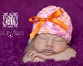 Newborn Ribbon Hat Orange Pink Chenille