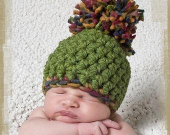 Chunky Rainbow Newborn Pom Pom Beanie Hat Photography Prop