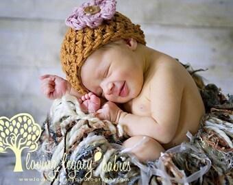 Caramel Brown Cotton Newborn Beanie Hat