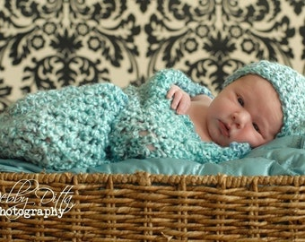 Newborn Cocoon Beanie Hat Set Robin Egg Blue