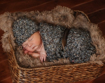 Chunky Newborn Cocoon Hat Set in Browns Blues