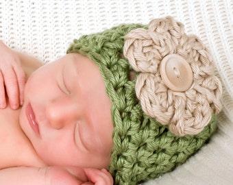 Little Vintage Newborn Baby Beanie Hat in Sage Green