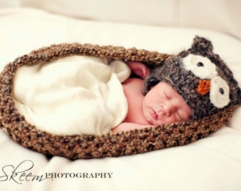 Newborn Owl Hat and Brown Baby Bowl Nest