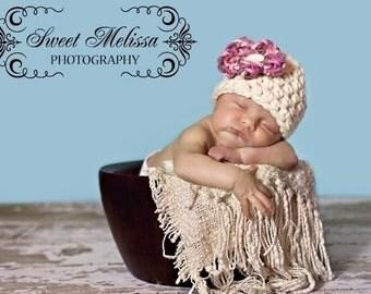 Cherry Blossom Newborn Baby Beanie Hat