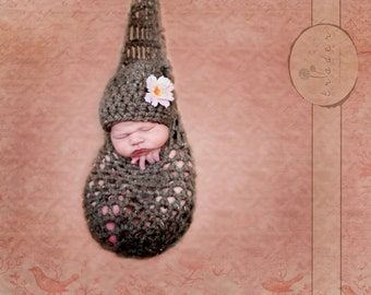 Hanging Infant Newborn Stork Sack and Hat