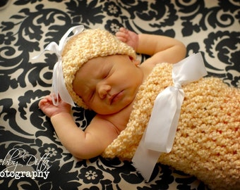 Newborn Cocoon and Hat Set in Buttercup Yellow