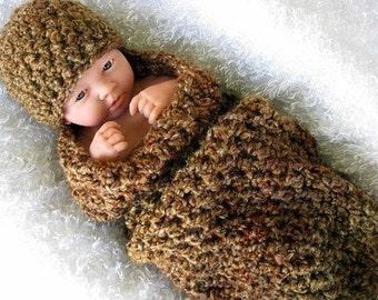 Newborn Cocoon and Beanie Hat Set in Brown Sugar