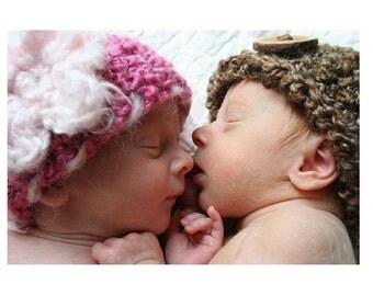 Neapolitan Newborn Twin Hats in Brown and Pink
