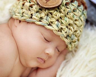 Newborn Beanie Hat in Greens Browns