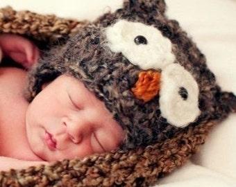 Little Brown Hootie Owl Newborn Hat