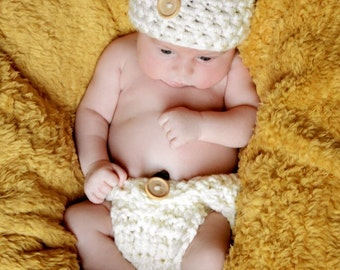 Natural Diaper Cover and Button Hat Set