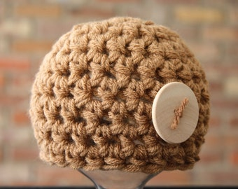 Toffee Beige Newborn Button Beanie Hat