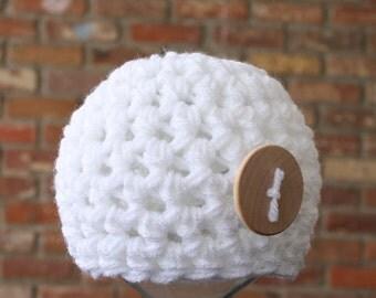 Snowflake White Newborn Button Beanie Hat