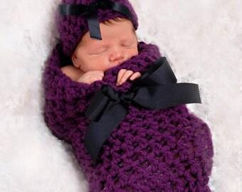 Wildberry Newborn Baby Cocoon Hat Set
