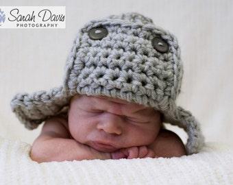 Grey AVIATOR Hat Newborn Baby Photo Prop
