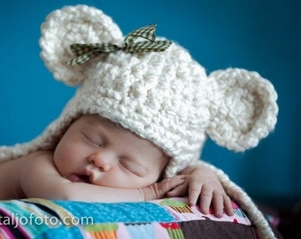 Sweet Dreams Earflap Beanie Bear Hat