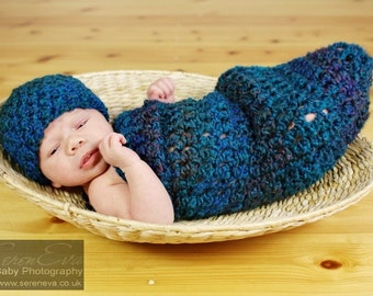 Dark Teal Newborn Cocoon and Beanie Hat Set