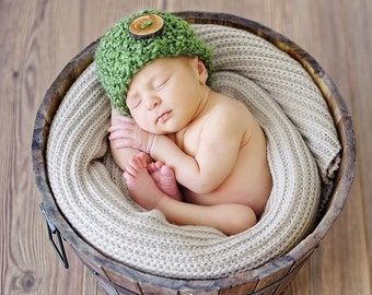 Grass Green Newborn Baby Beanie Hat