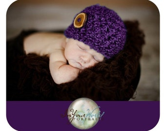 Purple Newborn Baby Beanie Hat