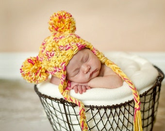 Newborn Pom Pom Earflap Bear Hat Pink Yellow