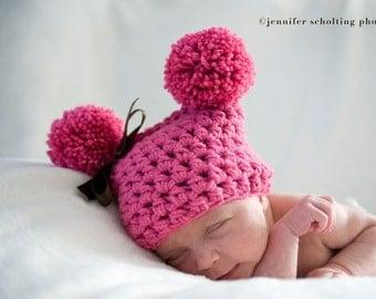 Bright Pink Newborn Pom Pom Sack Hat Brown Ribbon