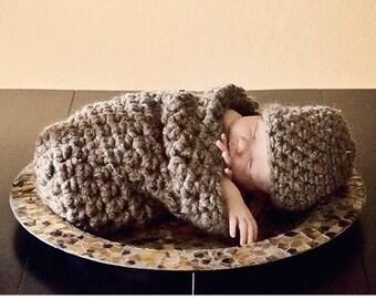 Newborn Cocoon Hat Set Brown Barley