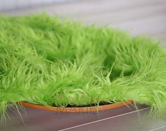 Lime Green Mongolian Faux Fur Nest Photography Prop Rug Newborn Baby Toddler 27x30