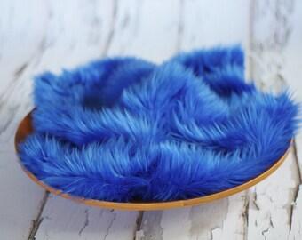 Cobalt Blue Mongolian Faux Fur Nest Photography Prop Rug Newborn Baby Toddler 27x30