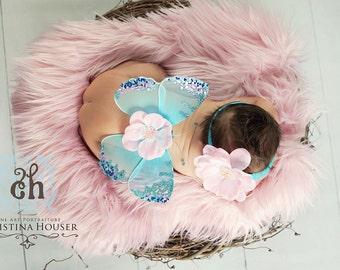 Soft Pink Mongolian Faux Fur Nest Photography Prop Rug Newborn Baby Toddler 27x20