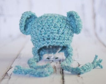 Sweet Dreams Blue Earflap Beanie Bear Hat
