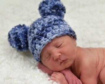 Denim Blue Newborn Pom Pom Beanie Hat