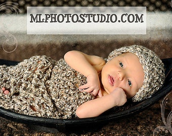 Newborn Cocoon Hat Set in Brown Beige Tan