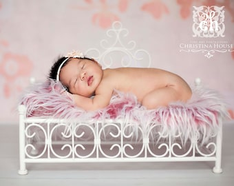 Frosted Red Mongolian Faux Fur Rug Nest Photography Photo Prop 27x20 Newborn Baby Toddler Backdrop Floordrop
