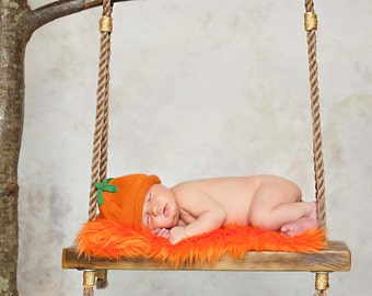 SET Twin Green and Orange Mongolian Fur Rug Nests Photography Photo Props Newborn Baby Toddler Backdrops Floordrops