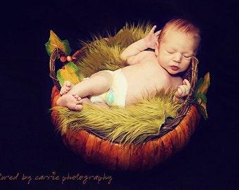 Olive Green Mongolian Fur Rug Nest Photography Photo Prop 20x13 Newborn Baby Toddler Mat Backdrop Floordrop