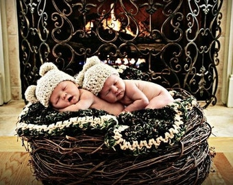 TWIN SIZE, Wood Branch Nest, Owl Nest, Bird Nest, Newborn Nest, Newborn Photography, Photo Prop