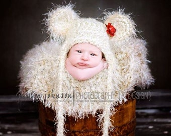 Little Fuzzy Earflap Teddy Bear Hat